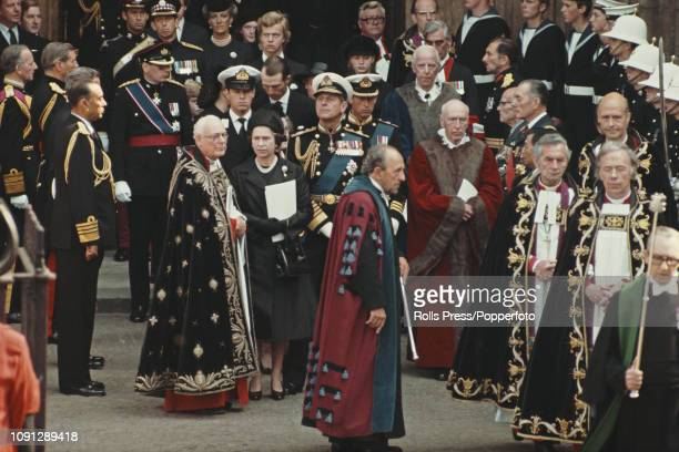 View of Queen Elizabeth II Prince Philip Duke of Edinburgh Prince Charles Prince Andrew and other members of the British royal family attending the...