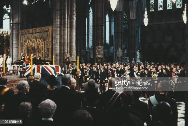 View of Queen Elizabeth II, Prince Philip Duke of Edinburgh, Prince Charles, Prince Andrew and other members of the British royal family attending...