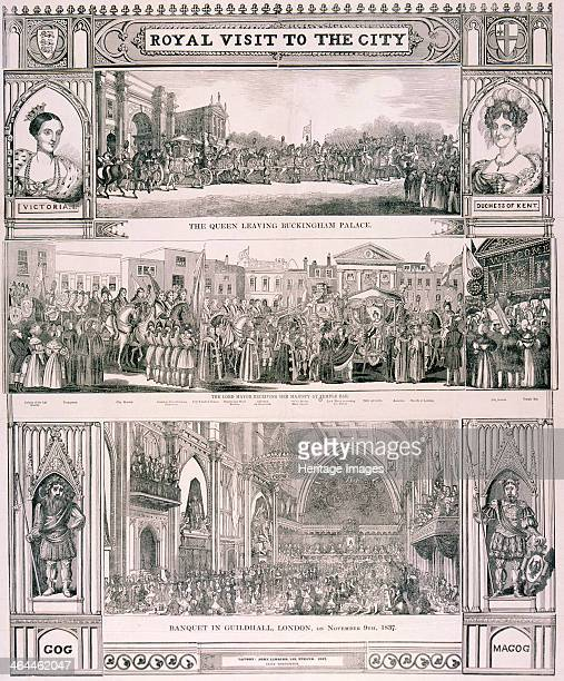 View of Queen Victoria's visit to the City of London 9 November 1837 showing the Queen leaving Buckingham Palace the Lord Mayor receiving the Queen...