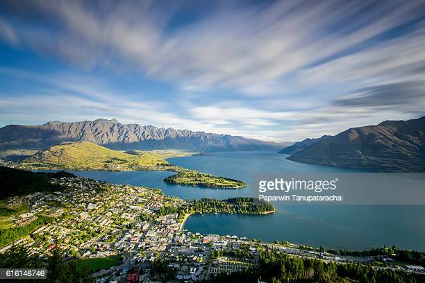 view of queenstown at gondola - queenstown stock pictures, royalty-free photos & images