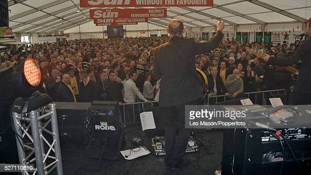 View of race goers inside the Best Mate beer tent during the 2012 Cheltenham National Hunt Festival at Cheltenham racecourse in Gloucestershire on...