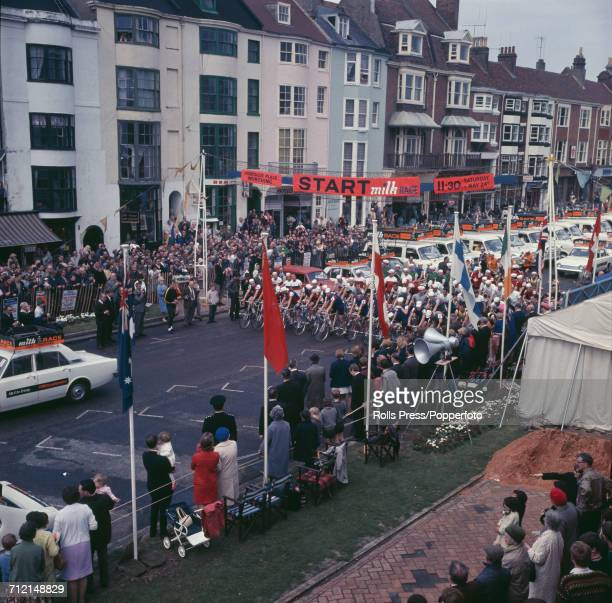 View of racing cyclists lining up together on the start line of the first stage of the 1969 Milk Race Tour of Britain in Worthing West Sussex on 25th...