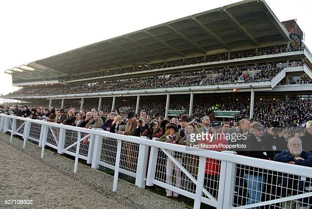 View of racing fans in the grandstand watching the horse racing on Ladies Day during the 2012 Cheltenham National Hunt Festival at Cheltenham...