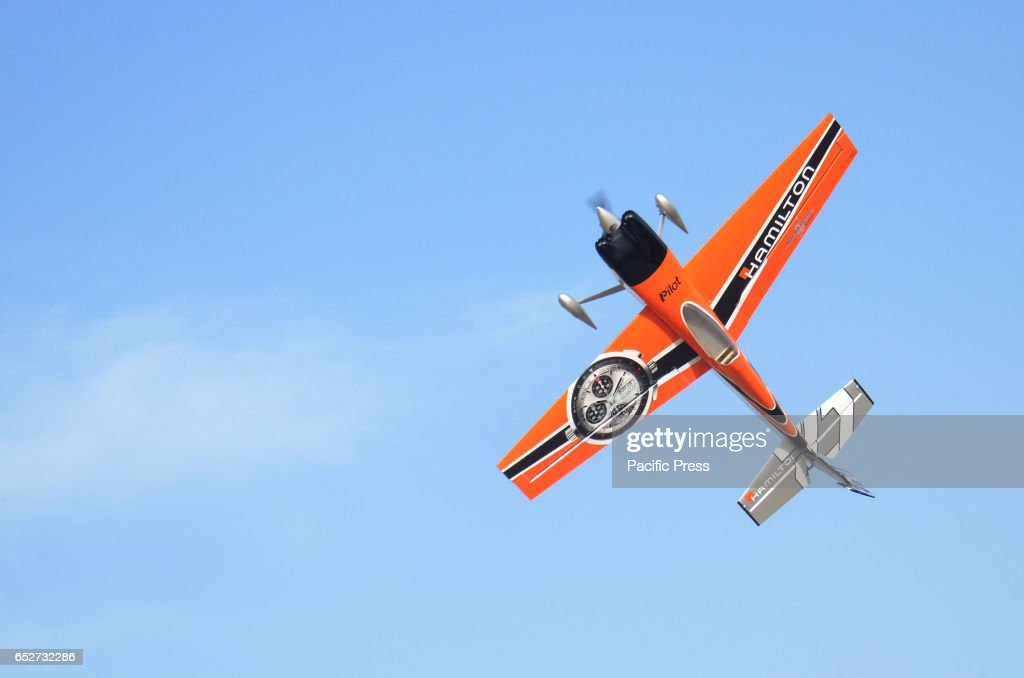 A view of radiocontrolled plane shows its aerobatic during Panther Aero Modelling show in Lahore Pakistan