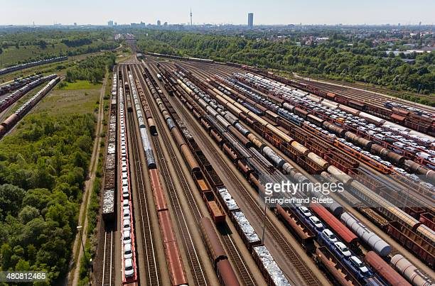 View of rail lines and freight, Munich, Bavaria, Germany