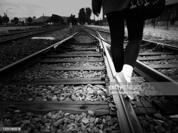 view of railway tracks - paris rocks stock pictures, royalty-free photos & images