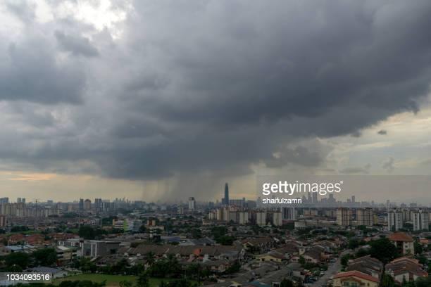 View of rain season over downtown Kuala Lumpur, Malaysia