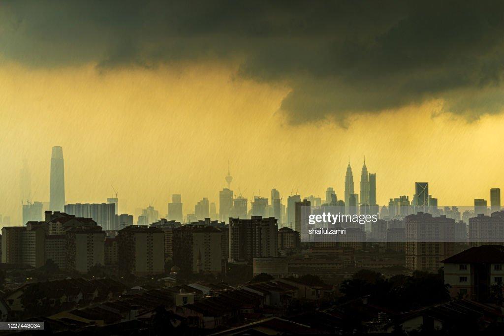View of rainy day over down town Kuala Lumpur, Malaysia. : Stock Photo