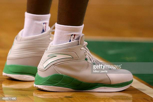 View of Rajon Rondo of the Boston Celtics' shoes as he waits for a foul shot against the Toronto Raptors at TD Garden on November 5, 2014 in Boston,...