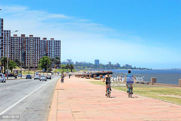 "view of ""rambla"" in montevideo, uruguay - montevideo stock pictures, royalty-free photos & images"
