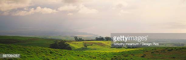view of ranch land on the big island with the pacific ocean and a partly cloudy sky beyond - timothy hearsum stock pictures, royalty-free photos & images