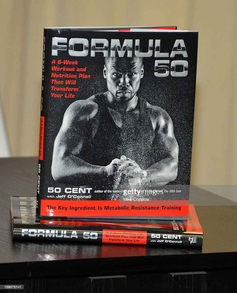A view of Rapper 50 Cents new book 'Formula 50: A 6-Week Workout and Nutrition Plan That Will Transform Your Life' at Barnes & Noble, 5th Avenue on January 16, 2013 in New York City.