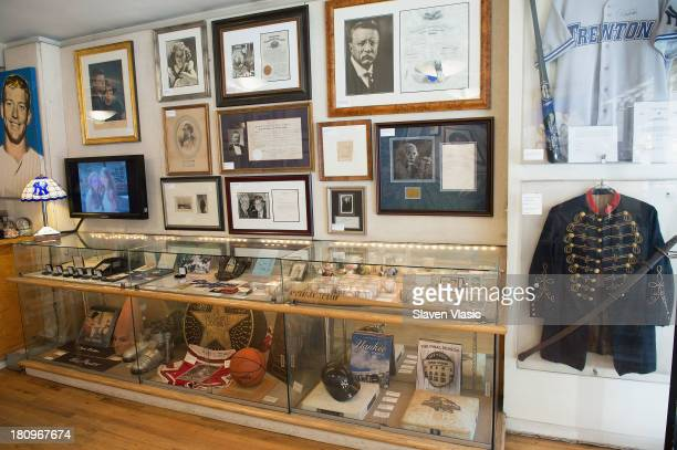 A view of rare authentic sports and music memorabilia on display at private media viewing at 'Gotta Have It' gallery store on September 18 2013 in...