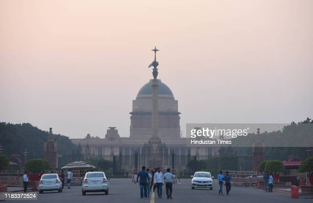 View of Rashtrapati Bhavan on a seemingly clear day, on November 16, 2019 in New Delhi, India. The national capital witnessed a dip in pollution...