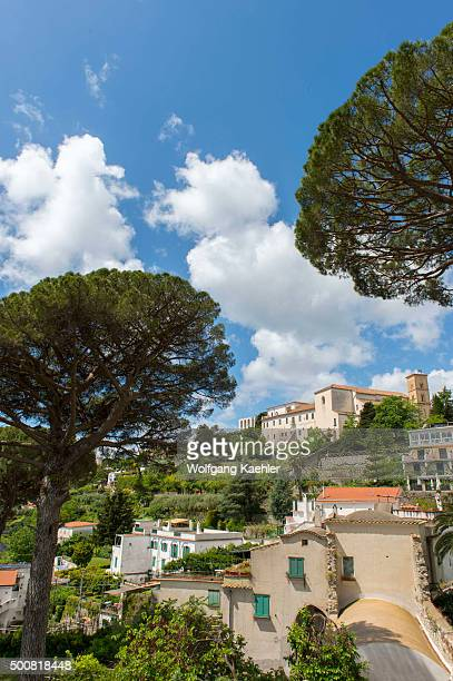 View of Ravello and Umbrella pine trees from the garden of Villa Rufolo in Ravello on the Amalfi Coast Italy