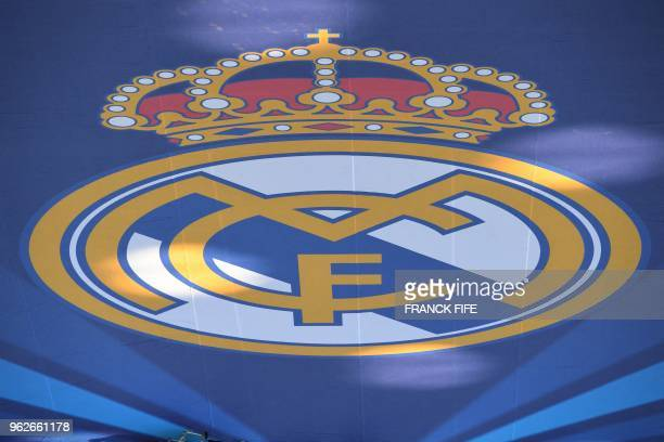 View of Real Madrid's logo before the UEFA Champions League final football match between Liverpool and Real Madrid at the Olympic Stadium in Kiev...