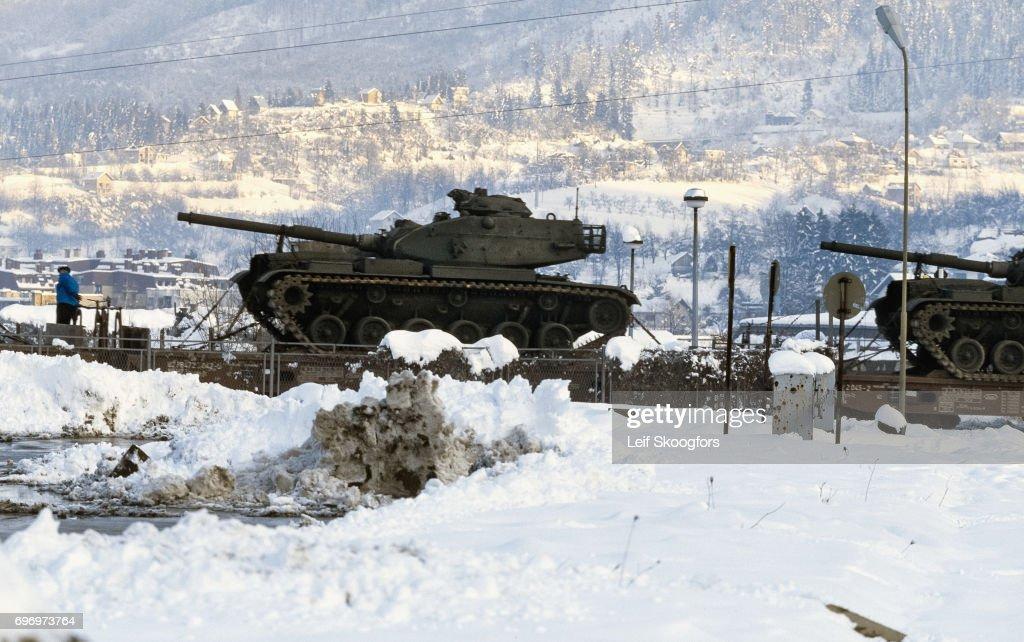 Us Army Surplus >> View Of Rebuilt Us Army Surplus Tanks On A Train Flatcar Sarajevo
