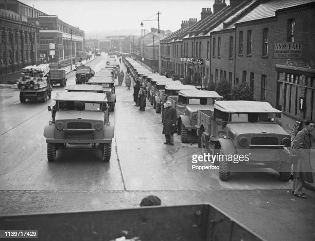 View of recently built Bedford MW trucks pictured lined up on a street outside the Bedford Vehicles factory in Luton Bedfordshire prior to being...