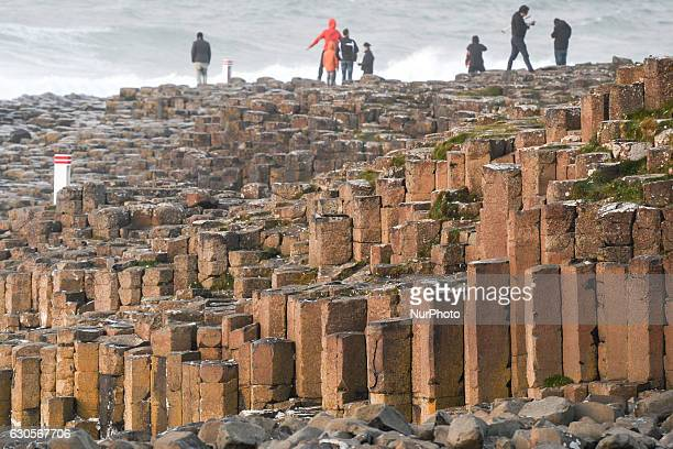 View of Red basaltic prisms at Giant's Causeway site. On Monday, 26 December 2016, in Bushmills, County Antrim, Northern Ireland, United Kingdom.