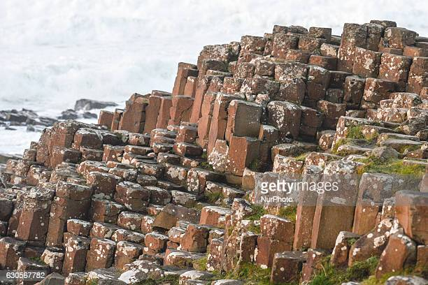 A view of Red basaltic prisms at Giant's Causeway site On Monday 26 December 2016 in Bushmills County Antrim Northern Ireland United Kingdom