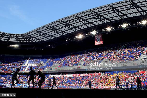 A view of Red Bull Arena during the New York Red Bulls Vs Columbus Crew SC MLS regular season match at Red Bull Arena on October 16 2016 in Harrison...