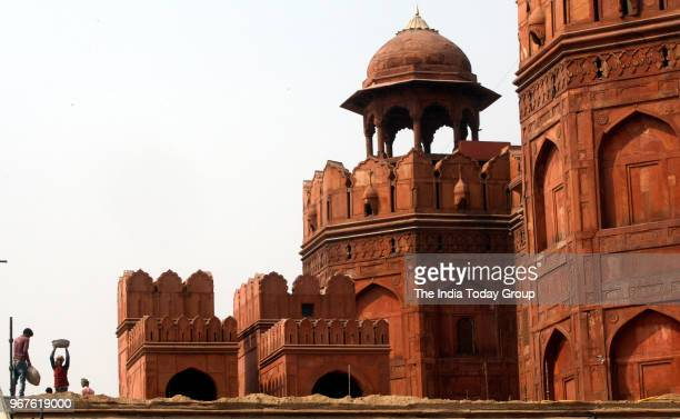 A view of Red Fort renovation work in Delhi