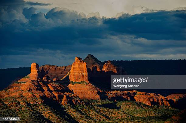 View of red rock formations in evening light east from the Airport Mesa Loop trail in Sedona Arizona USA