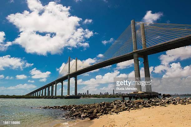 View of Redinha beach and the bridge Newton Navarro on November 14 2013 in Natal Brazil