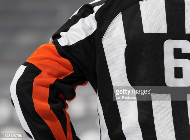 View of Referee Francis Charron during an NHL game between the Philadelphia Flyers and the Washington Capitals at the Wells Fargo Center on March 13,...
