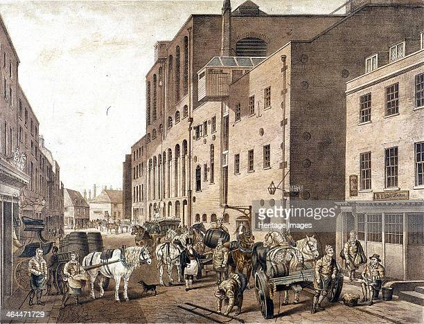 View of Reid's Brewery Clerkenwell Road Finsbury London c1820 with figures and horse drawn carts being loaded up with barrels