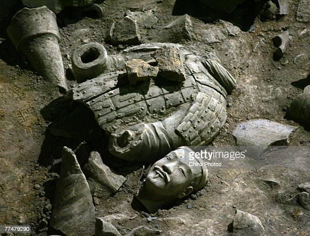 A view of relics of ancient terracotta warriors is seen in the No2 pit of the Qin Terracotta Warriors and Horses Museum on October 24 2007 in Lintong...