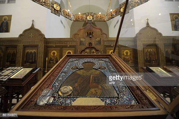 View of religious icons including a bottle of 'Manna' displayed at the Orthodox Church of Saint Nicholas in Bari south of Italy on February 28 2009...