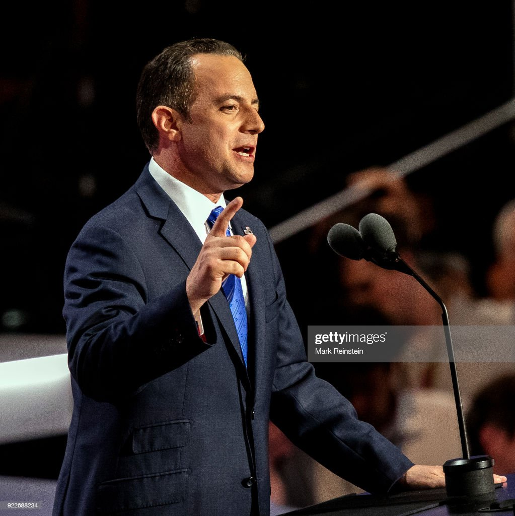 View of Republican National Committee chairman Reince Priebus as he speaks from the podium during the Republican National Convention on its final day at the Quicken Loans Arena, Cleveland, Ohio, July 21, 2016.
