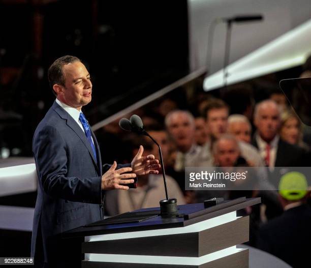 View of Republican National Committee chairman Reince Priebus as he speaks from the podium during the Republican National Convention on its final day...