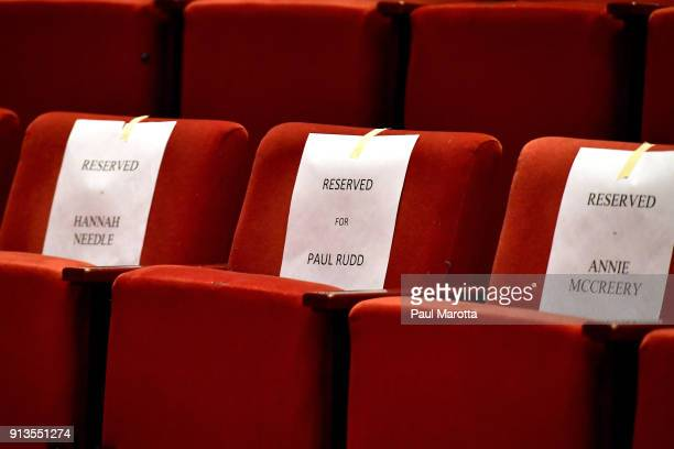 A view of reserved seats during Hasty Pudding Theatricals Honors Paul Rudd as 2018 Man of The Year on February 2 2018 in Cambridge Massachusetts