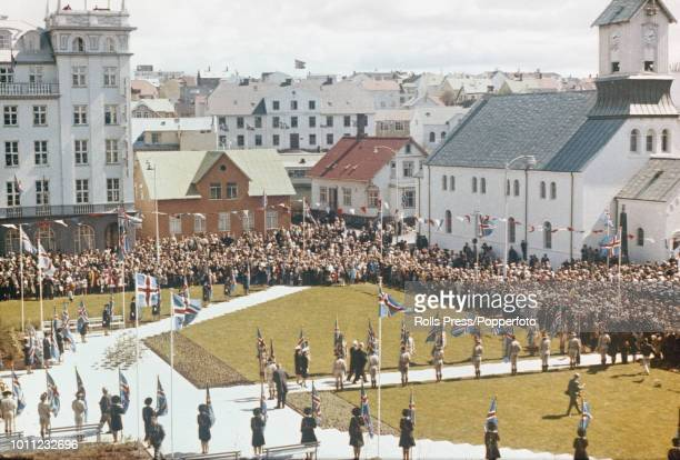 View of residents celebrating National Day with a ceremony in Austurvollur Square in Reykjavik Iceland on 17th June 1970
