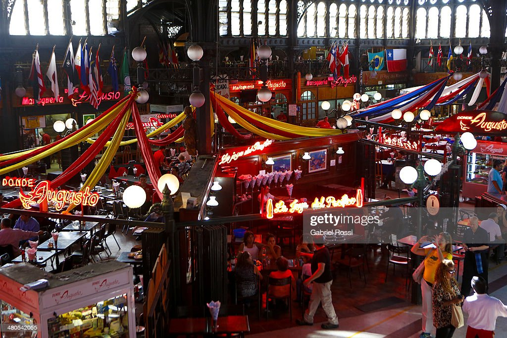 View of restaurants at central fish market of Santiago on March 17, 2014 in Santiago, Chile.