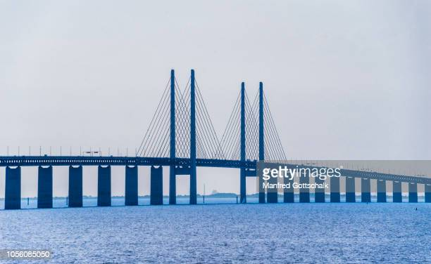 view of öresund bridge, malmö, scania, sweden, july 25, 2016 - malmo stock pictures, royalty-free photos & images
