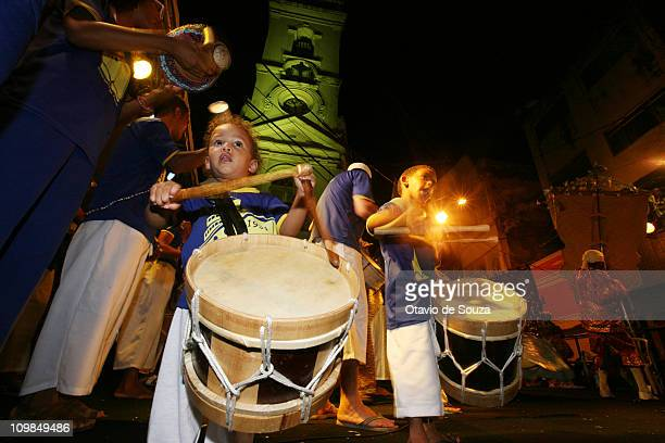 View of revellers during the Night of Silent Drums at Patio Terao in Sao Jose Neighborhood on March 8 2011 in Recife Brazil
