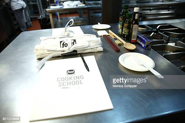 A view of Reynolds Wrap Pampeian olive oil and A1 Original Sauce in the kitchen at the Food Network Magazine Cooking School 2016 at The International...