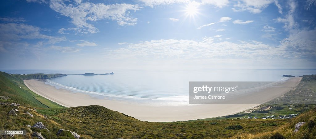 View of Rhossili Bay from Rhossili Down, Gower, Wales UK : Stock Photo