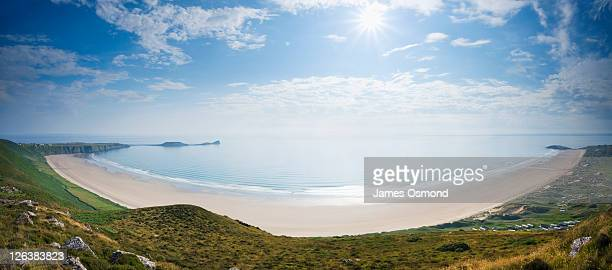 View of Rhossili Bay from Rhossili Down, Gower, Wales UK