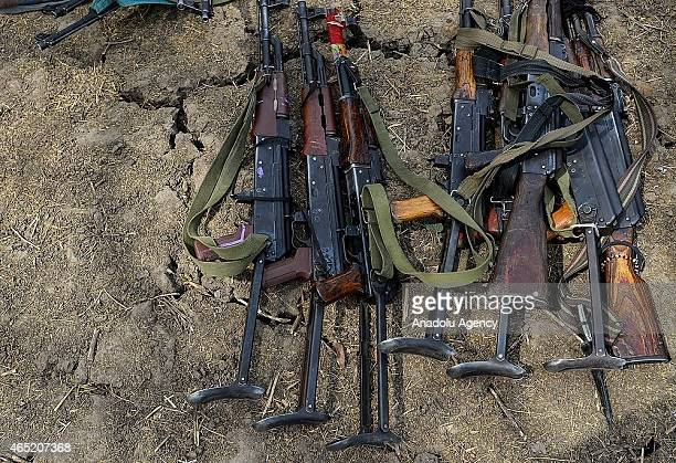A view of rifles after hundreds of child soldiers in South Sudan's Pibor Administrative Area have been recently demobilized from the South Sudan...