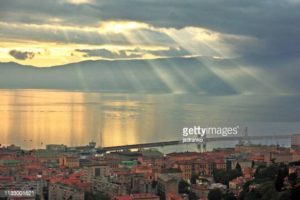 a view of rijeka and adriatic coast from trsat castle - rijeka stock pictures, royalty-free photos & images