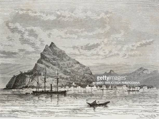 View of Rikitea in the southern part of Magareva island Gambier Islands drawing by Theodor Alexander Weber from a sketch by Gilbert Guzent from...