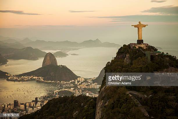 view of rio de janeiro at dusk - brazil stock pictures, royalty-free photos & images
