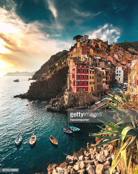 view of riomaggiore at the cinque terre - coastline stock photos and pictures