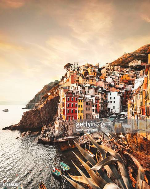 view of riomaggiore at the cinque terre - cinque terre stock pictures, royalty-free photos & images
