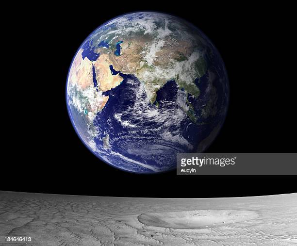 View of rising Earth from the moon's surface