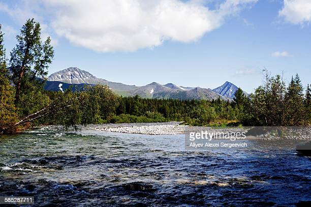 view of river and mountains and forest, ural mountains, russia - summits russia 2015 stock pictures, royalty-free photos & images